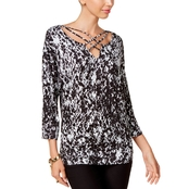 Thalia Sodi Lattice Trim Top