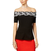 Thalia Sodi Lace Applique Off The Shoulder Peplum Top