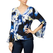 Thalia Sodi Printed Bell Sleeve Top