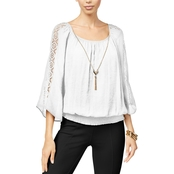 Thalia Sodi Crochet Trimmed Smocked Top with Necklace