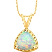 10K Yellow Gold Lab Created Opal Pendant