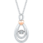 Sterling Silver and 10K Rose Gold Diamond Accent Pendant