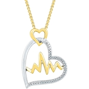 Sterling Silver and 10K Yellow Gold Diamond Accent Double Heart Pendant