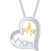 Sterling Silver and 10K Yellow Gold Diamond Accent Heart Pendant