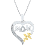 Sterling Silver & 10K Yellow Gold Accent Heart Pendant 18 In.