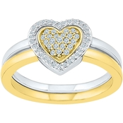 Sterling Silver and 10K Yellow Gold 1/5 CTW Heart Ring