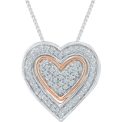Sterling Silver and 10K Rose Gold 1/5 CTW Heart Pendant 18 In.
