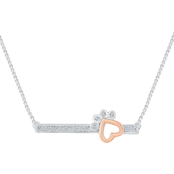 Sterling Silver and 10K Rose Gold Accent Fashion Necklace 18 In.