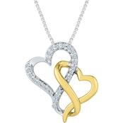10K Yellow and White Gold 1/5 CTW Heart Pendant 18 In.