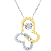 Sterling Silver and 10K Yellow Gold 1/10 CTW Fashion Pendant 18 In.