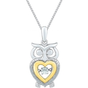 Sterling Silver and 10K Yellow Gold Accent Fashion Pendant 18 In.