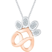 Sterling Silver and 10K Rose Gold Accent Fashion Pendant 18 In.