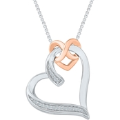 Sterling Silver and 10K Rose Gold Accent Heart Pendant 18 In.