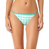 California Sunshine Juniors Mint Gingham Bikini Swim Bottom