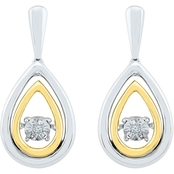Sterling Silver And 10K Yellow Gold Diamond Accent Earrings