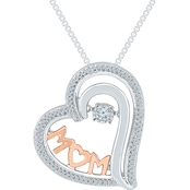 Sterling Silver And 10K Rose Gold 1/5 CTW Diamond Heart Pendant