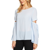 CeCe Split Flare Blouse with Bows