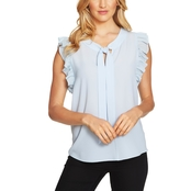 CeCe Flutter Blouse with Bow Tie