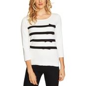CeCe Striped Pullover Sweater with Bows