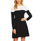 CeCe Colorblock Sweater Dress with Ruffle
