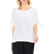 Vince Camuto Two Lace Up Sleeve Linen Tee