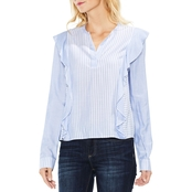 Two by Vince Camuto Stripe Ruffle Split Neck Woven Top