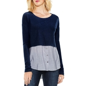 Two by Vince Camuto Yarn Dyed Stripe Shirttail Mix Media Top