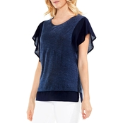 Vince Camuto Ruffle Sleeve Mixed Media Top