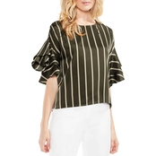 Vince Camuto Tiered Ruffle Sleeve Stripe Theory Blouse
