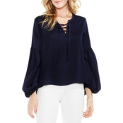 Vince Camuto Lace Up Bubble Sleeve Hammered Satin Blouse