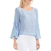 Vince Camuto Crinkled Cotton Pleated Sleeve Blouse