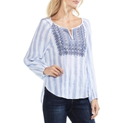 Vince Camuto Stripe Pucker Embellished Peasant Blouse