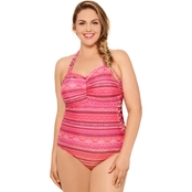 Hot Water Juniors Plus Size Belly Dancer Strappy Side One Piece Swimwear