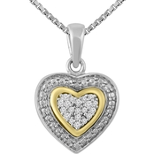 Sterling Silver 10K Yellow Gold Diamond Accent Heart Pendant