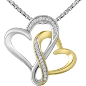 Sterling Silver 10K Yellow Plated Diamond Accent Heart Pendant