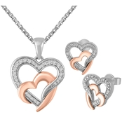 Sterling Silver 10K Rose Plated 2 Pc. Diamond Accent Set