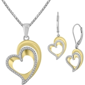 Sterling Silver 10K Yellow Plated 2 Pc. Diamond Accent Set