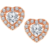 10K Rose Gold 1/4 CTW Heart Stud Plus Earrings