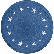 Benson Mills Americana Round Braided Placemat with Embroidered Stars