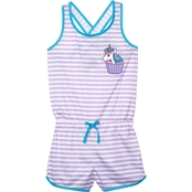 Jelli Fish Kids Little Girls Unicorn Sleep Romper, Size 6/6X