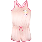 Jelli Fish Kids Little Girls Cat Sleep Romper, Size 6/6X