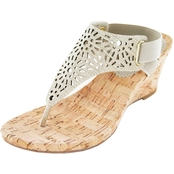 White Mountain Alise Chop Out Thong Dress Cork Wedge Sandals