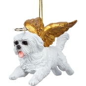 Design Toscano Honor the Pooch Maltese Holiday Dog Angel Ornament