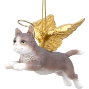 Design Toscano Honor the Feline Grey Tabby Holiday Cat Angel Ornament