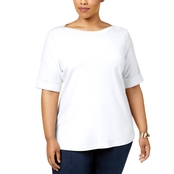 Karen Scott Plus Size Cotton Boat Neck Top