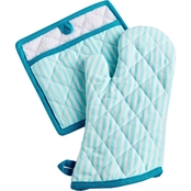 Martha Stewart Collection Striped Oven Mitt & Pot Holder Set