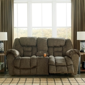 Ashley Capehorn Reclining Console Loveseat