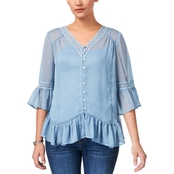 Style & Co. Petite Crochet Trim Ruffled Blouse