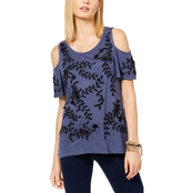 INC International Concepts Petite Embroidered Cold Shoulder Top