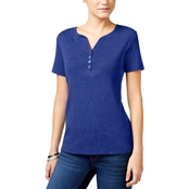 Karen Scott Petite Cotton Henley Top